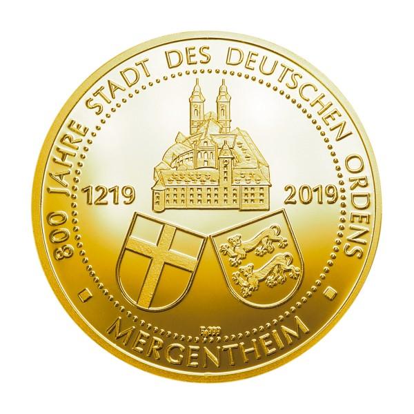 800 Jahre Deutscher Orden Bad Mergentheim Sonderprägung Feingold