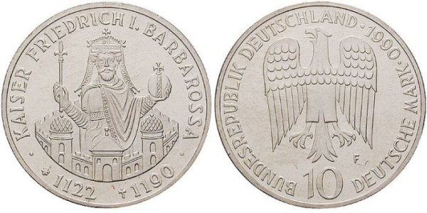 10 D-Mark Gedenkmünze Kaiser Friedrich Barbarossa