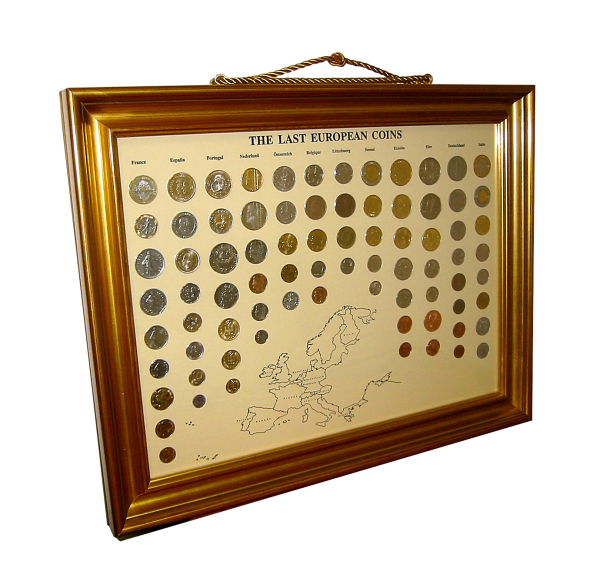 Vor Euro Münzen im Bilderrahmen