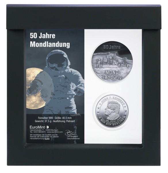 50 Jahre Mondlandung patiniert + John F. Kennedy Feinsilber
