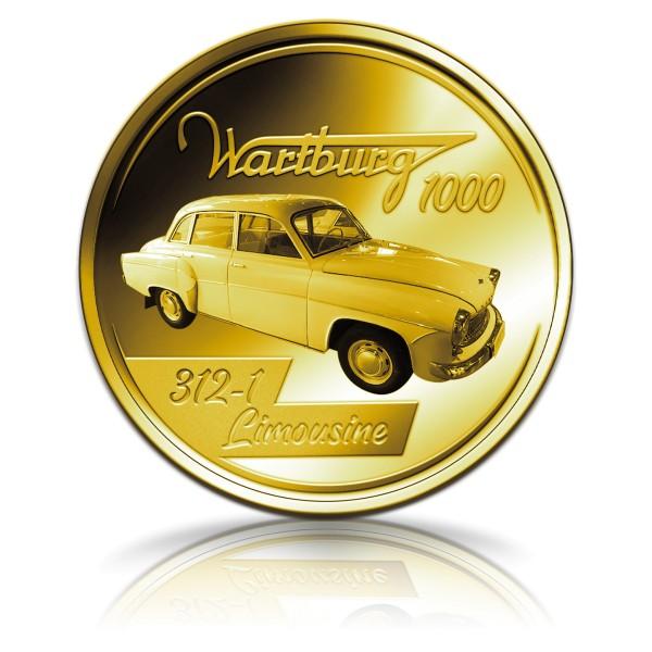 Der Wartburg 1000 Sonderprägung vergoldet