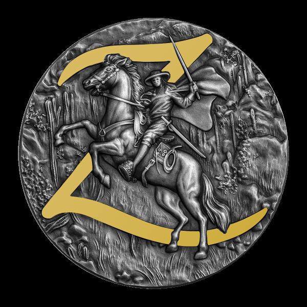 Zorro 2 Oz Münze mit Teilvergoldung