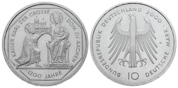 10 D-Mark Gedenkmünze Karl der Große und Aachener Dom