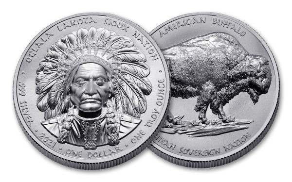 Oglala Lakota Sioux Nation 1 Oz Silbermünze - Hochrelief