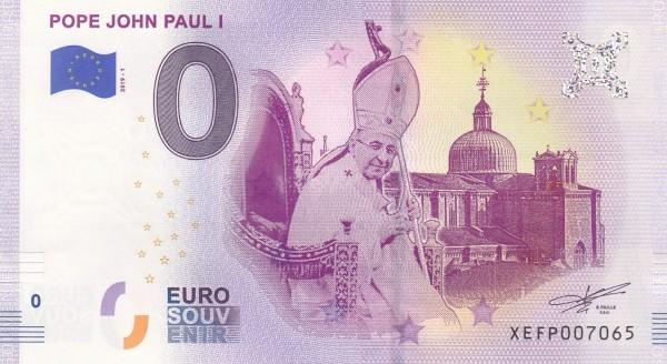 0 Euro Schein Papst Johannes Paul I.